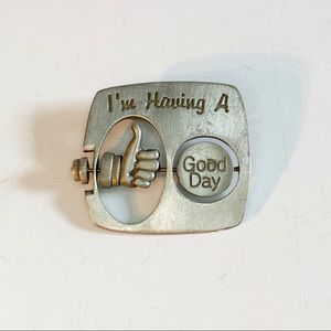 Vtg JJ Pewter Good Day Bad Day Thumbs Up Brooch